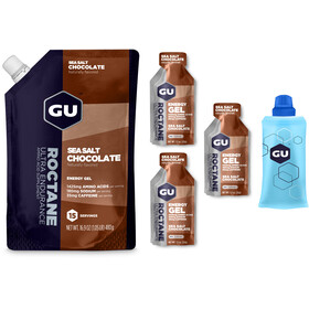 GU Energy Roctane Gel - Nutrition sport - Lot chocolat sel de mer 480 g + 3x32 g gels + gourde